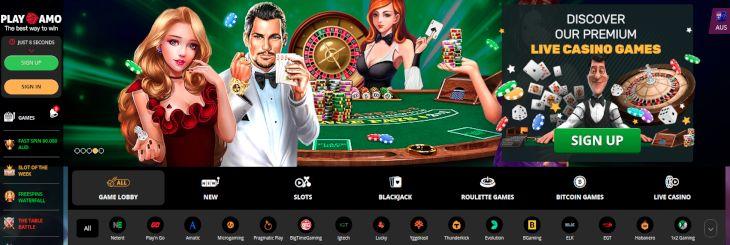 PlayAmo home page